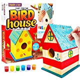Made By Me Build & Paint Your Own Wooden Bird House Horizon Group USA, DIY Birdhouse Making Kit, Includes Paints, Brushes, Glue & Wind Chimes, Multicolor (46090F)