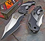 Ballistic Black Grey Assisted Tactical Flipper Pocket Knife (1 Knife) (Basic color)