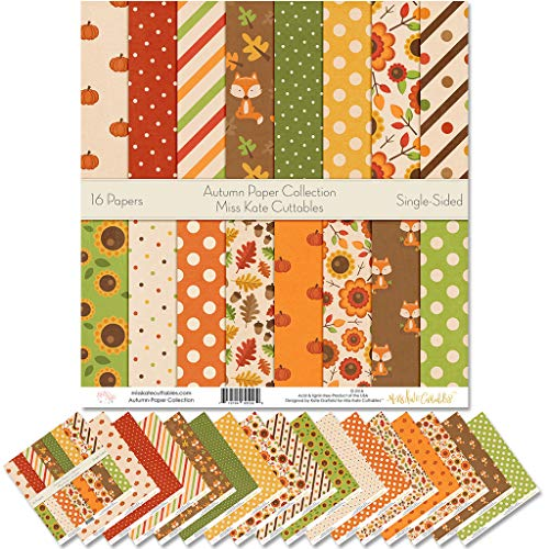 Pattern Paper Pack - Autumn - Scrapbook Premium Specialty Paper Single-Sided 12