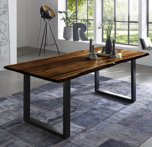 SAM Esszimmertisch 160x85 cm Quintus, echte Baumkante, nussbaumfarben, massiver Esstisch aus Akazienholz, Metallbeine schwarz, Baumkantentisch
