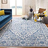 Safavieh Brentwood Collection BNT832M Medallion Distressed Non-Shedding Stain Resistant Living Room Bedroom Area Rug, 8' x 10', Navy / Light Grey
