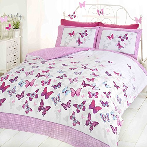 Art - Set copripiumino singolo con farfalle che svolazzano, colore: rosa e bianco, Cotone e poliestere, rosa, Singolo