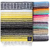 Authentic Mexican Blanket - Beach Blanket, Handwoven Serape Blanket, Perfect as Beach Blankets, Picnic Blanket, Outdoor Blanket, Yoga Blanket, Camping Blanket, Car Blanket, Woven Blanket (Sunshine)