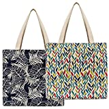 Planet E Reusable Canvas Tote Bags - Made in USA Fashionable Perfect for Shopping or Groceries (Pack of 2)