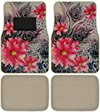 Hibiscus Flowers Peacock Feathers Car Truck SUV Universal-fit Front & Rear Seat Carpet Flower Floor Mats - 4pc