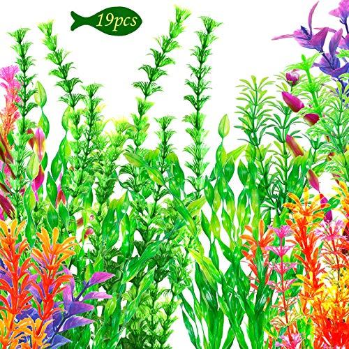 OrgMemory Plastikpflanzen für Aquarien, Aquarium Wasserpflanzen, (19 Stück, 20-37cm), Fisch Tank Dekoration
