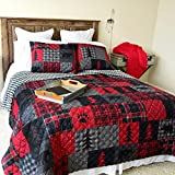 Donna Sharp Full/Queen Bedding Set - 3 Piece - Red Forest Lodge Quilt Set with Full/Queen Quilt and Two Standard Pillow Shams - Fits Queen Size and Full Size Beds - Machine Washable