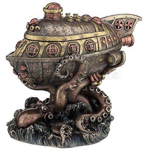 Steampunk Submarine Vs. Octopus Trinket Box Statue (Kitchen & Home)