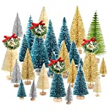 KUUQA 36Pcs Bottle Brush Trees Set, Diorama Trees Mini Sisal Christmas Trees with Christmas Wreaths for Christmas Table Decorations, DIY Room Décor Winter Decoration