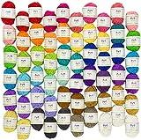 Mira Handcrafts 60 Yarn Skeins – Total of 1312 Yard Acrylic Yarn for...