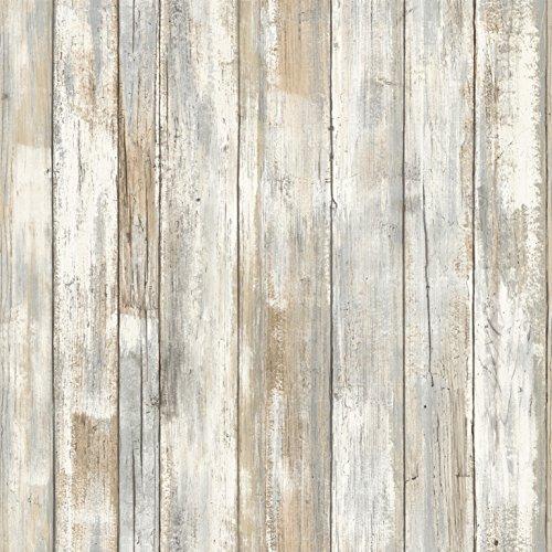 RoomMates - Papel pintado para pared, diseño de madera, Madera (rustic wood)