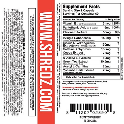 SHREDZ Thermogenic Fat Burner Supplement Pills for Men Maximum Strength, Burn Fat, Increase Energy, Best Way to Shed Pounds, 30 Day Supply (60 Capsules) 2