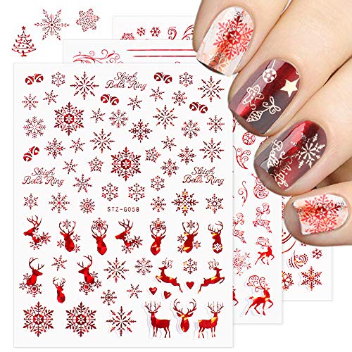 Christmas Nail Stickers - 2020 New 3D Snowflake Nail Art Decals Metallic Red Snowflake Elk Snowman Santa Claus Tree Candy Self Adhesive Nail Decoration for Women Girls(9 Sheets)