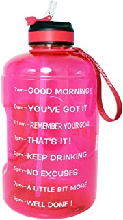 BuildLife Gallon Motivational Water Bottle Wide Mouth with Straw & Time Marked to..