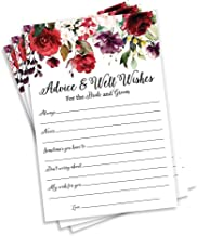50 Burgundy Watercolor Floral Wishes for The Bride and Groom – (50-Cards) Wedding..