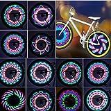 TINANA Bike Wheel Lights, LED Waterproof Bicycle Spoke Light 32 LED 32pcs Changes Patterns Bicycle Rim Tire Lights for Mountain Bike Road Bikes BMX Bike Hybrid Bike Folding Bike(2pack)