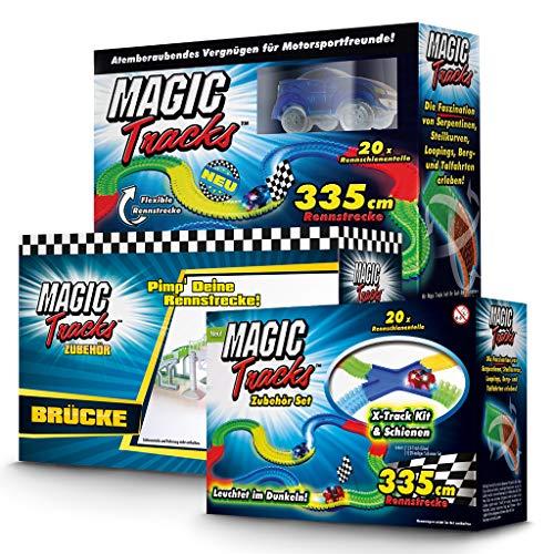 Magic Tracks Großes Set   Autorennbahn für Kinder ab 3 Jahren   Autobahn Kinder   Auto Spielzeug   Rennbahn Leuchtend