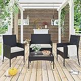 Merax 4 PC Rattan Chair Patio Furniture Garden Backyard Wicker Set, Outdoor with Weather Resistant Cushions Sofa, Brown