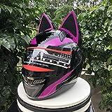 Nitrinos Purple Full Face Motorcycle Street Helmet Cat Helmet with Ears Neko Cat Ears Helmet (M)