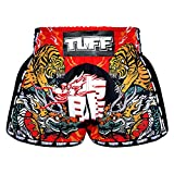 TUFF Retro Muay Thai Boxing Shorts Martial Arts Clothing Training Gym Trunks Classic Slim Cut (TUF-MRS204-RED, XL)