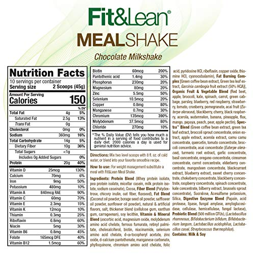 Fit & Lean Meal Shake Fat Burning Meal Replacement with Protein, Fiber, Probiotics and Organic Fruits & Vegetables and Green Tea for Weight Loss, 1lb, Chocolate, 10 Servings Per Container 3