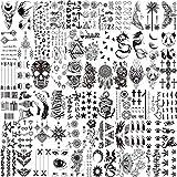 LAROI 66 Feuilles 3D Petits Noir Tatouages ephemere Femmes Hommes Réalistes Faux Tatouage Temporaire Visage Cou Bras Enfant Tatouage Éphémère Fleur Oiseaux Étoile Kits Tatouage Garçon Fille Adulte