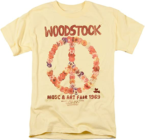 yellow t-shirt with a piece sign from Woodstock