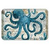 Uphome Sea Theme Memory Foam Bath Mat Blue Octopus Rubber Non Slip Bathroom Rugs Velvet Foam Coastal Navigation Map Bath Rug for Shower Floors, Summer Ocean Life Bathroom Decorations, 20x32