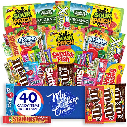 My College Crate Candy & Snack Box Ultimate Snack Care Package for College Students - 40 piece Includes 20 Full Size Candies, Candy Variety Pack, Starburst, Skittles, Sour Patch & More