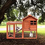 Merax Rabbit Hutch Indoor & Outdoor Bunny Cage Pet House Chicken Coop with Removable No Leakage Tray (Wood)