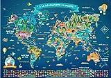 Poster Carte du Monde pour Enfant en Français | Grand Planisphère Mural...