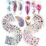 VINFUTUR 54 Blatt Nagelsticker Blumen Schmetterling Wassertransfer, Nagelaufkleber Selbstklebend Nail Art Stickers Nageltattoos Nageldesign Sticker Nagel Decals DIY Nagelkunst Abziehbilder