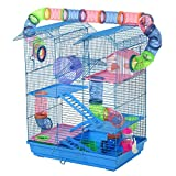 PawHut 5 Tiers Hamster Cage Small Animal Rat House with Exercise Wheels, Tube Water Bottles, and Ladder, Blue