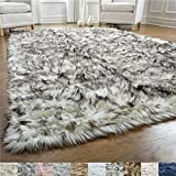 GORILLA GRIP Original Premium Faux Fur Area Rug, Soft Living Room Area Rug, 5 FT x 7 FT, Bedroom Floor Rugs, Softest Feeling Carpet, Best Touch, Luxury Modern Room Décor, Rectangle, Frosted Tips Black