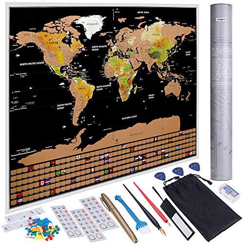 Anpro Carte du Monde à Gratter XXL 82.5cm x 59.5cm Noir et Doré,Edition...