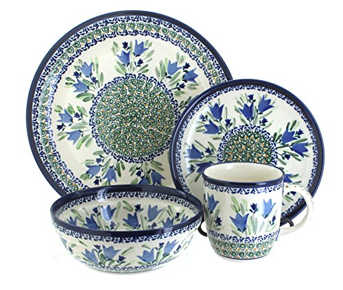 Blue Rose Polish Pottery Tulip 4pc Dinnerware