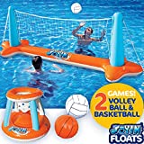 Inflatable Pool Float Set Volleyball Net & Basketball Hoops; Balls Included for Kids and Adults Swimming Game Toy, Floating, Summer Floaties, Volleyball Court (105x28x35)|Basketball (27x23x27).