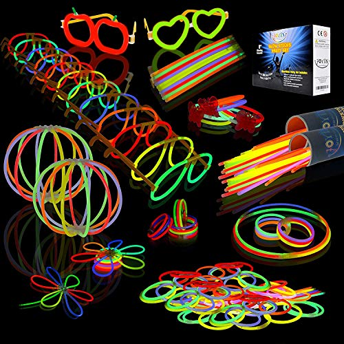 """JOYIN Glow Sticks Bulk 200 8"""" Glowsticks (Total 456 PCs 7 Colors); Bracelets Glow Necklaces Glow-in-The-Dark Light-up July 4th Christmas Halloween Party Supplies Pack, Football Party Supplies"""