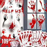 Decorazioni di Halloween con impronte di mani insanguinate - 109 PCS Vetrofanie di Halloween, 8 fogli Adesivo sanguinante Adesivo per pavimenti con adesivi per tatuaggi, feste di Halloween