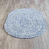 Farmhouse Oval Braided Rugs Blue & White 2' X 3' Cotton Kitchen Braided Reversible Throw Rug