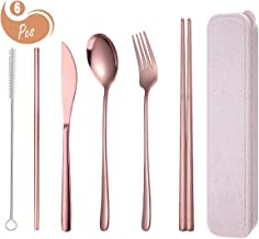 AARainbow 6 Pieces Stainless Steel Flatware Set Reusable Cutlery Set Travel Utensils Set..