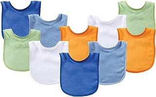 Luvable Friends Unisex Baby Cotton Terry Bibs, Blue Orange, One Size