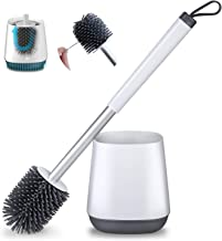 POPTEN Toilet Brush and Holder Set for Bathroom with Aluminum Handle & Soft Silicone..