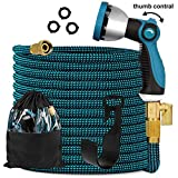 Knoikos Expandable Garden Hose 100ft - Expanding Flexible Water Hose with 10 Function Nozzle/Durable 3750D /3/4' Solid Brass Connectors,Easy Storage Kink Free Garden Water Hose