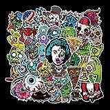 BLOUR 50 PCS Halloween Skull Cartoon Horror Sticker Vinilo Pegatina Notebook Maleta Guitarra Scooter