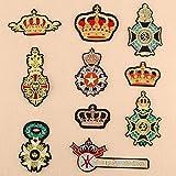 Iron-on patch parches para ropa Aplique de bordado Se utiliza para decorar ropa y regalos de reparación de bricolaje insignia de corona 10 piezas
