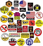 35 Hard Hat Sticker,Tool Box Stickers- 100% Plastic(Vinyl), Funny Decals Construction, Electrician, Oilfield, Fire Crew, Mechanic- Skateboard Sticker Decal.