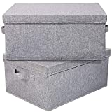 HOONEX Linen Foldable Storage Bins with Lids, 2 Pack, Storage Boxes with Carrying Handles and Study Heavy Cardboard, 16.5' L x 11.8' W x 7.5' H for Toy, Shoes, Books, Clothes, Nursery, Light Grey