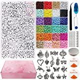 FinaTider Beads for Jewelry Making, 12000pcs Beads Kit, Glass Seed Beads 4mm and Letter Beads 7mm,...