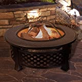 """Fire Pit Set, Wood Burning Pit - Includes Spark Screen and Log Poker - Great for Outdoor and Patio, 32"""" Round Metal Firepit by Pure Garden"""